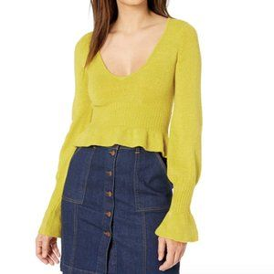 NWT For Love And Lemons Yellow Peplum Sweater Top